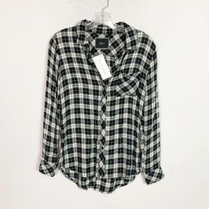 Rails | gingham plaid flannel black & white XS